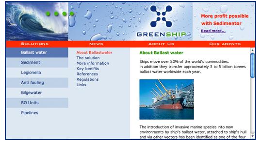 Greenship website ballast water treatment page