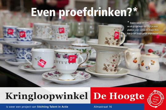 Kringloopwinkel de Hoogte poster Proefdrinken?